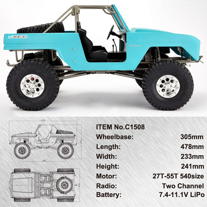 TFL Bronco C1508 Full Metal  1/10 4WD RC Crawler Assembly Car - stirlingkit