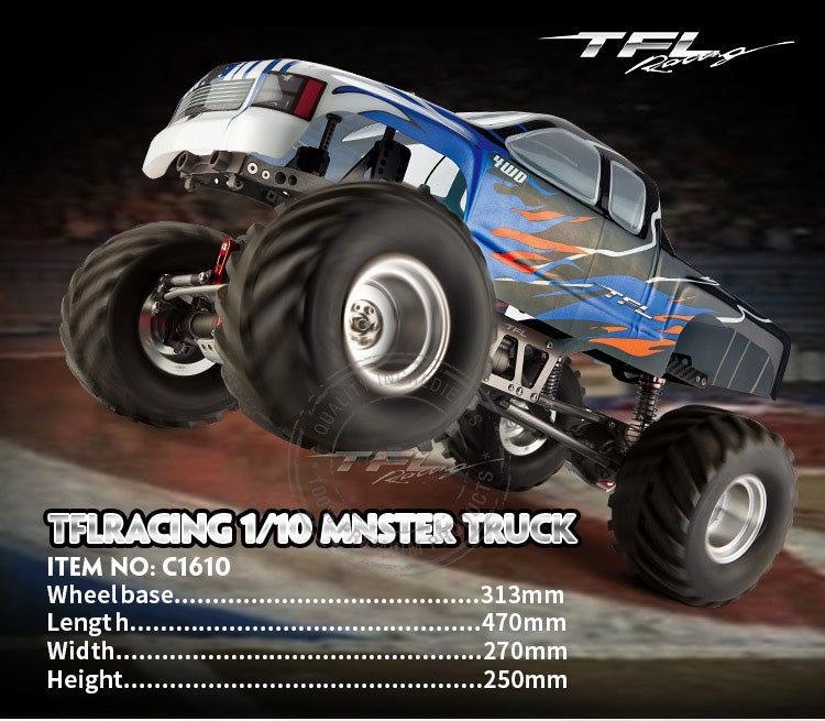 TFL C1610 1/10 4WD Simulation Big Foot RC Electric Monster Truck - stirlingkit