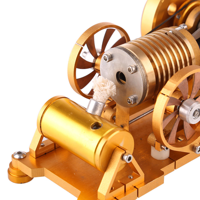Vacuum Flame Licker Stirling Engine Model Toy with Brass Cylinder Piston - stirlingkit