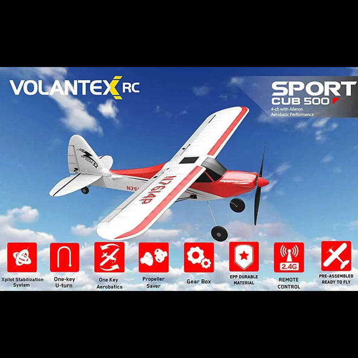VOLANTEXRC Sport Cub 500 Wingspan Airplane 2.4Ghz 4CH RC Airplane with Xpilot Gyro - RTF - stirlingkit