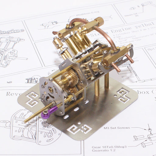 Mini V4 Brass Steam Engine Model Reverse Gearbox (without Boiler) - stirlingkit