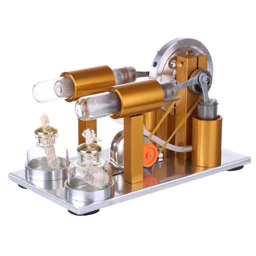 Two Cylinder Stirling Engine Kit Physics Experiment Generator Model - stirlingkit