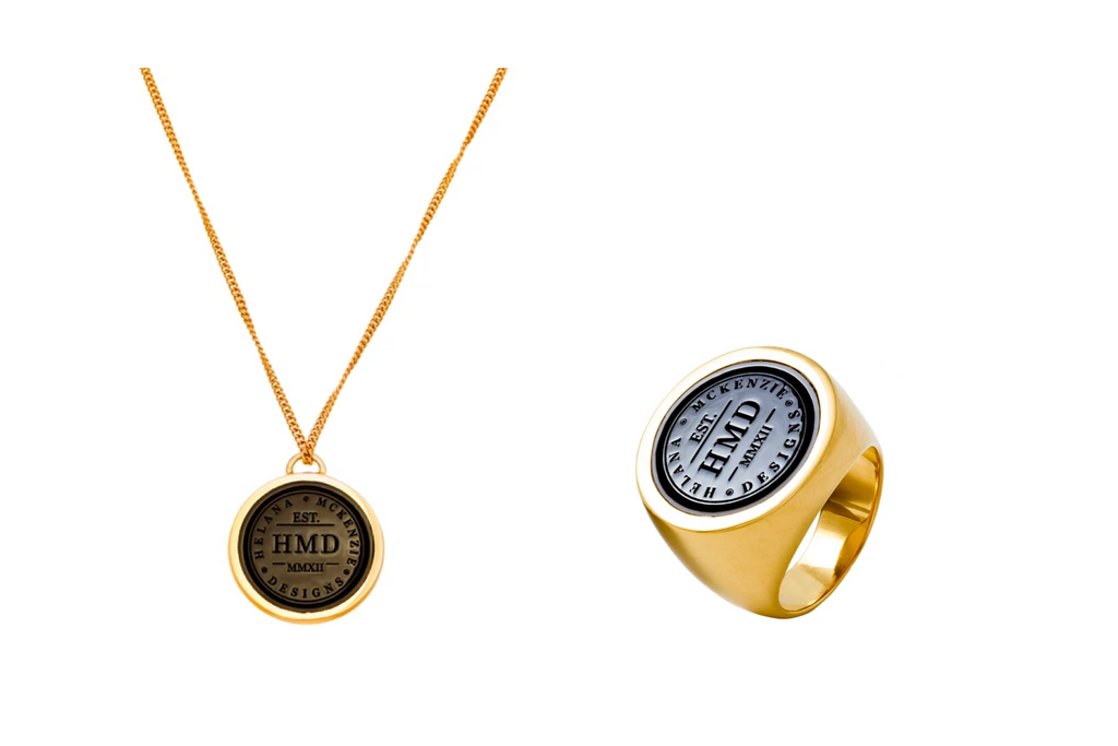 HMD DOUBLE SIDED PENDANT & BLACK SIGNET RING