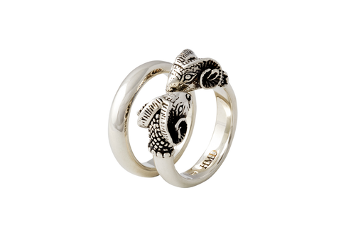 Rams Head Ring Set (includes plain ring)