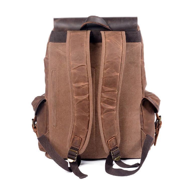Canvas Leather Backpack coffee malmo eiken back side