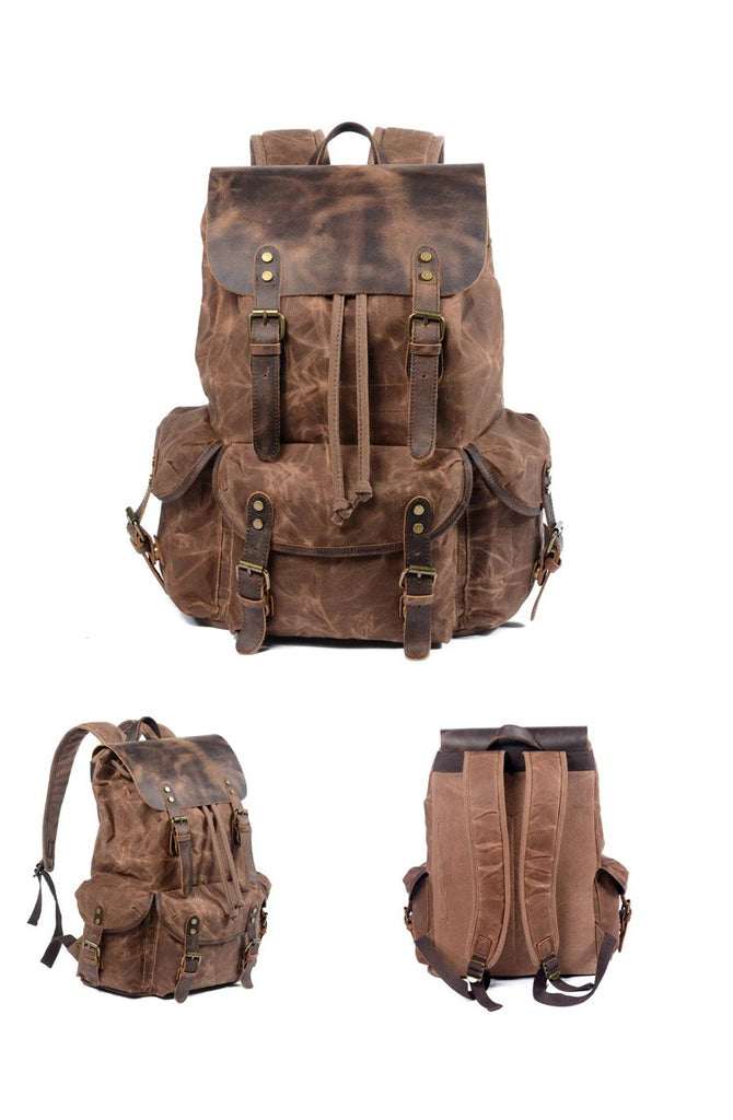 Canvas Leather Backpack coffee malmo eiken