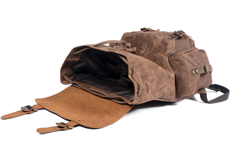Canvas Leather Backpack coffee malmo eiken opening