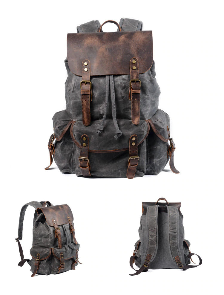 Canvas Leather Backpack grey malmo eiken
