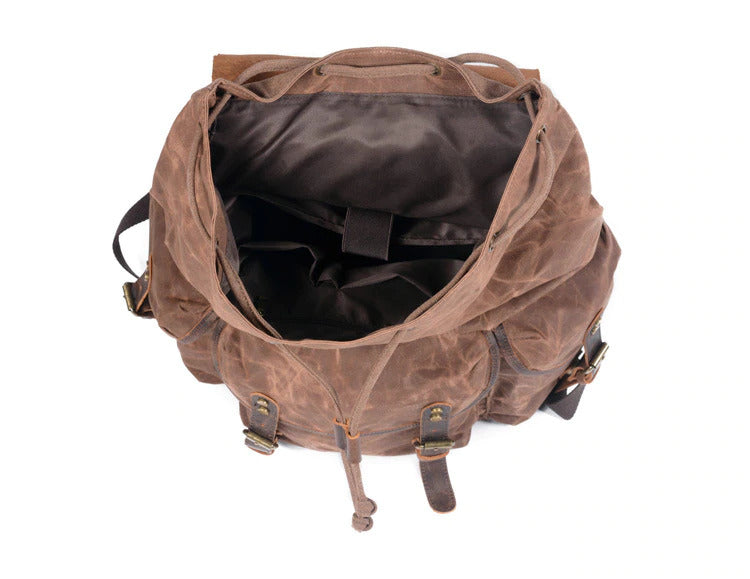 Canvas Leather Backpack malmo eiken open inside
