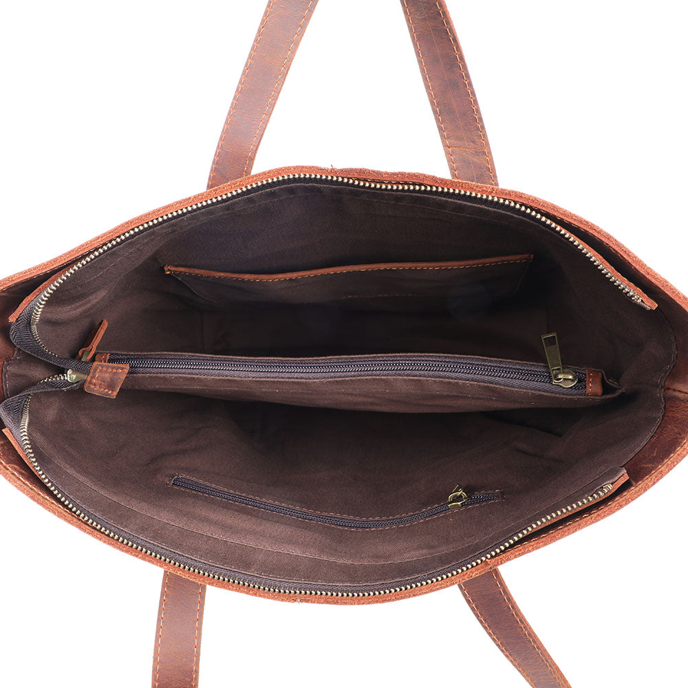 Coffee Leather Tote Bag