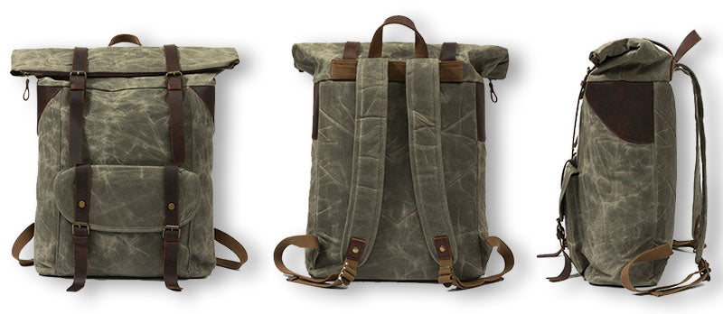 Large Vintage Duffle Backpack Canvas & Leather different views holstebro