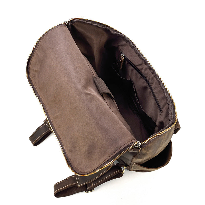leather school backpack laptop compartment