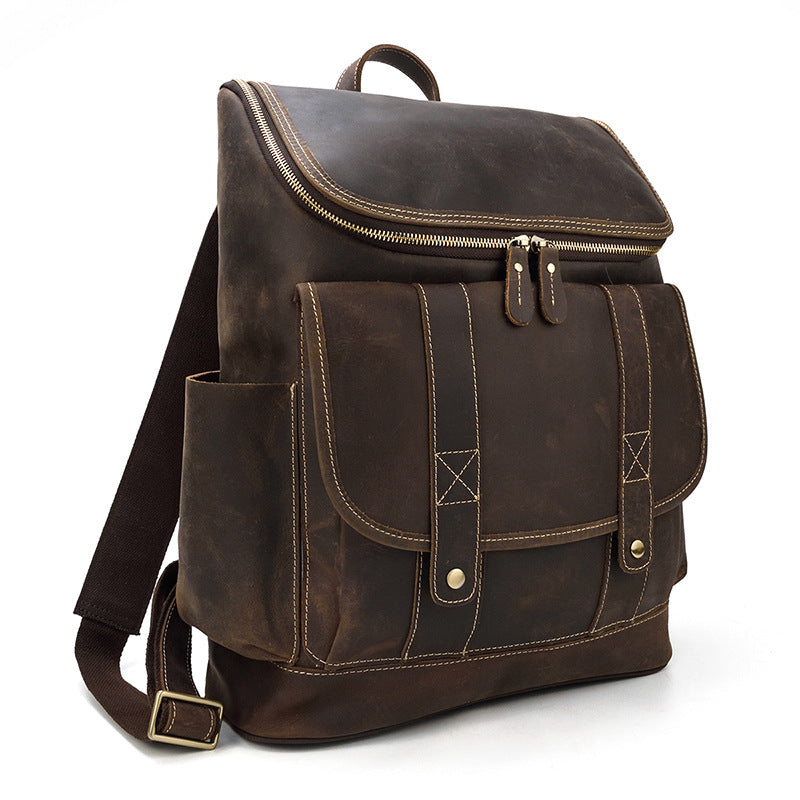 leather school backpack retro