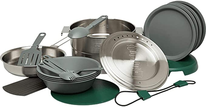 Stanley Base Camp Cook Set for 4   21 Pcs Nesting Cookware Made from Stainless Steel & BPA Free Material   Incl Pot, lid, Cutting Board, Spatula, Plates, Spoons, Forks, Bowls, Dish Rack, Trivet