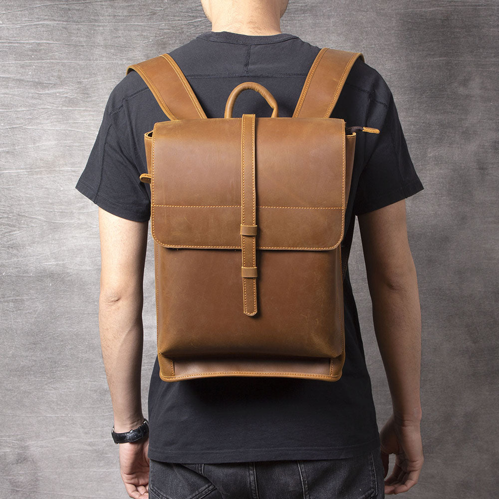 men's tan leather backpack