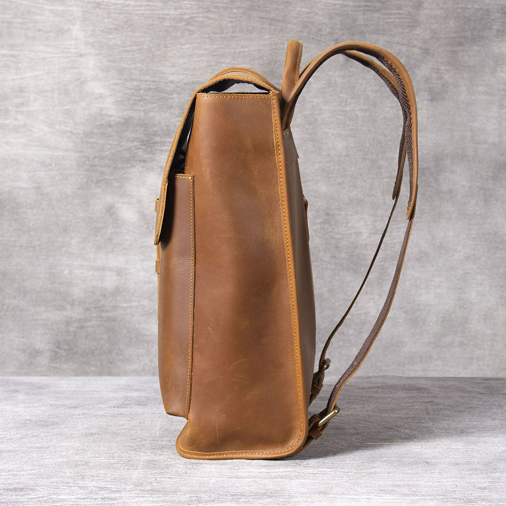 women's tan leather backpack brown
