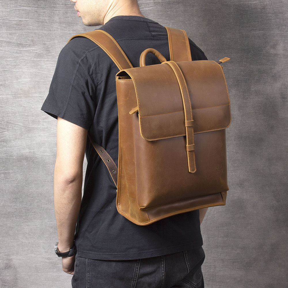 tan leather backpack for men