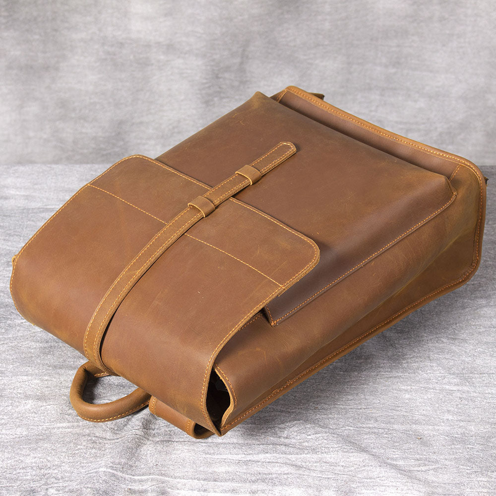retro women's tan leather backpack