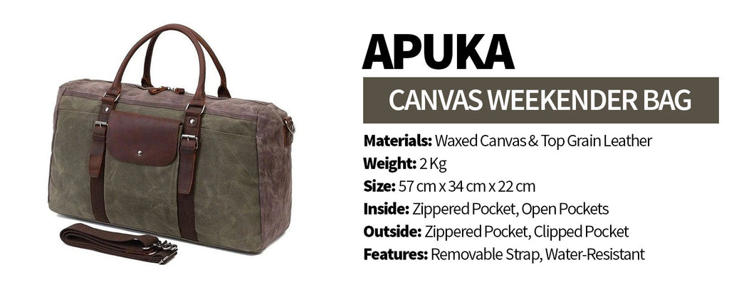APUKA Canvas Weekender Bag