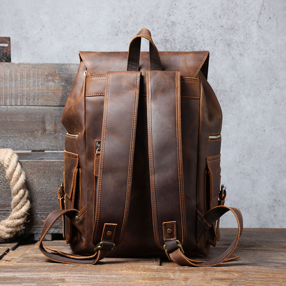 brown leather backpack for men
