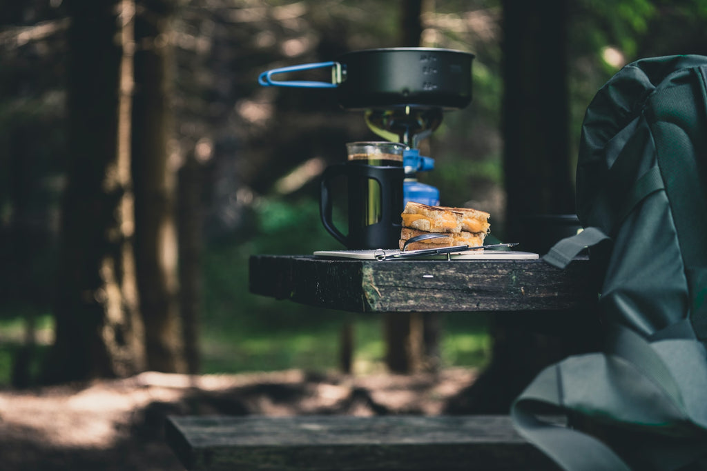 Breakfast while camping in the woods