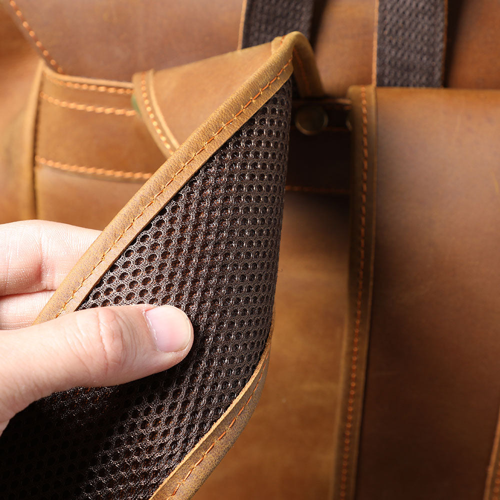coffee leather backpack travel