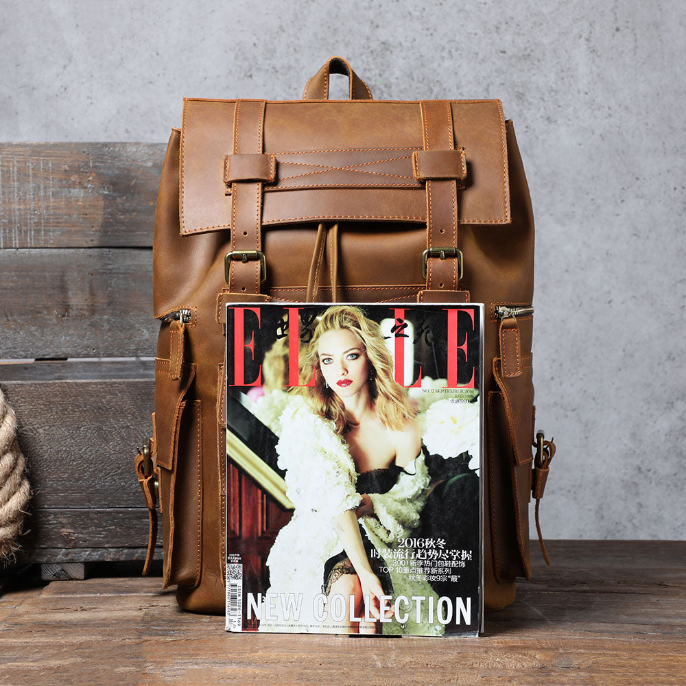 coffee leather backpack for men and women