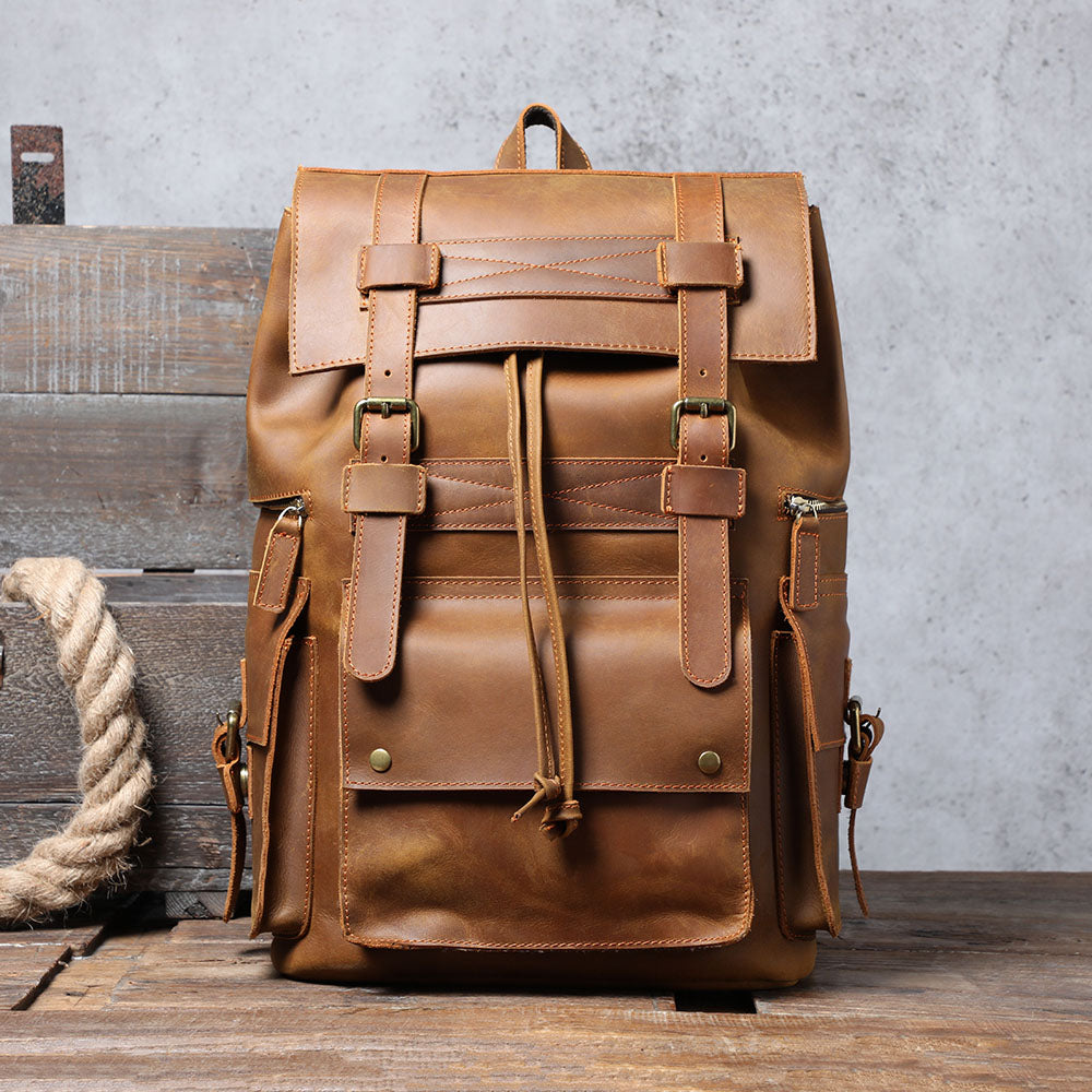 coffee leather backpack