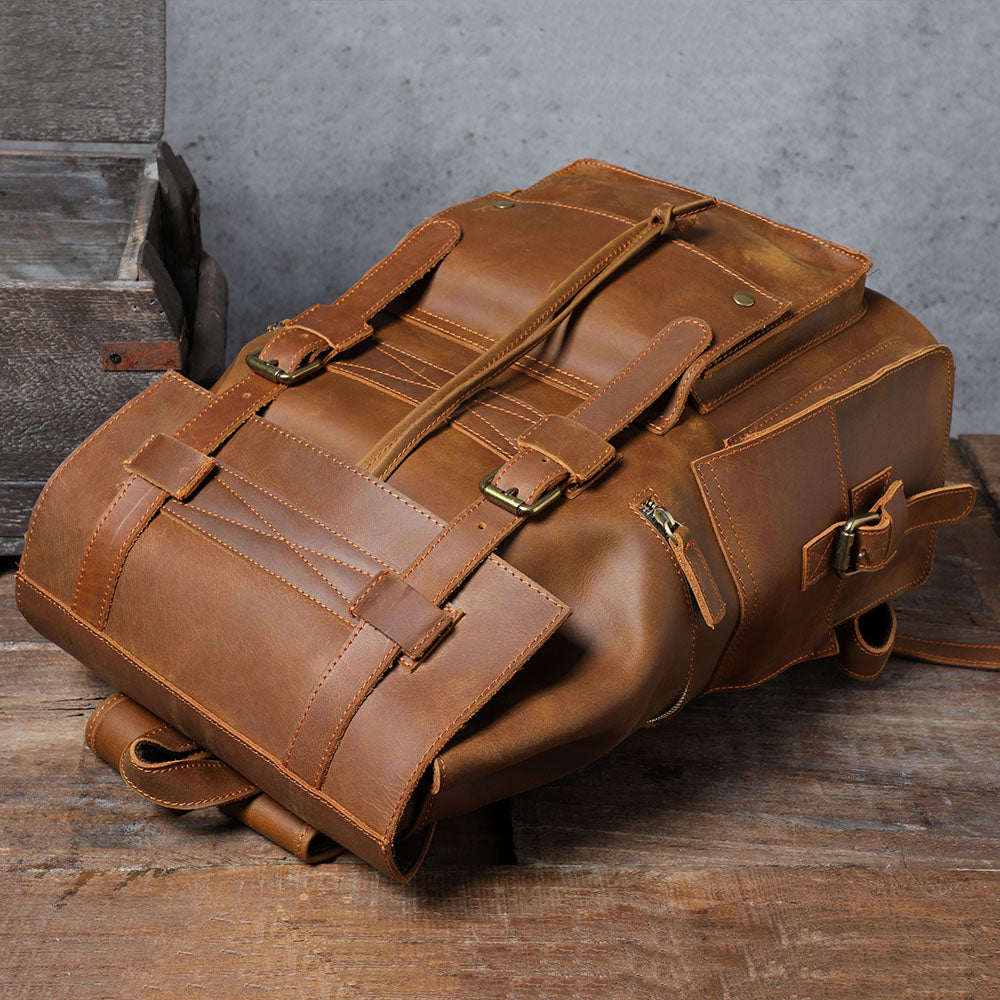 coffee leather backpack for men