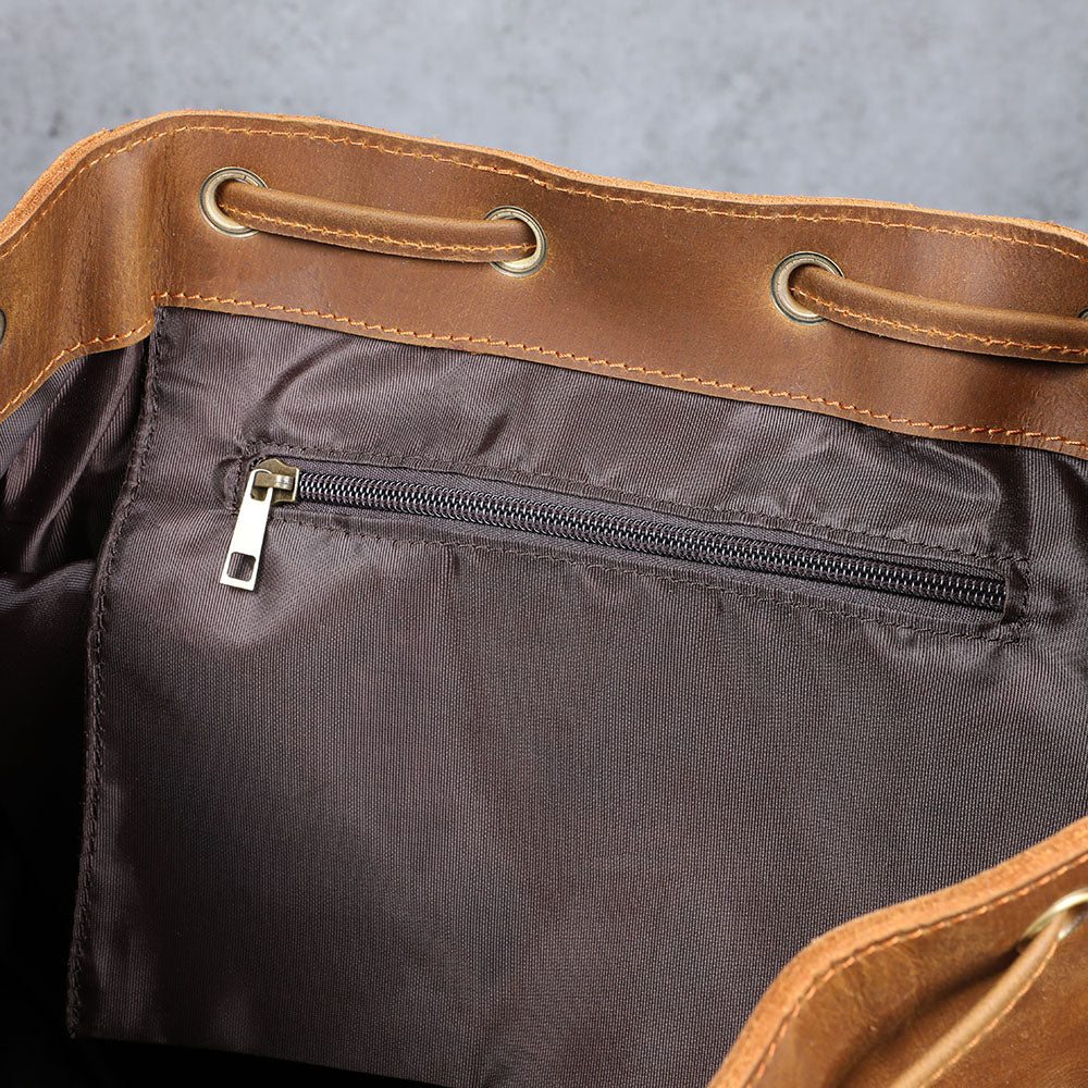 men's coffee leather backpack