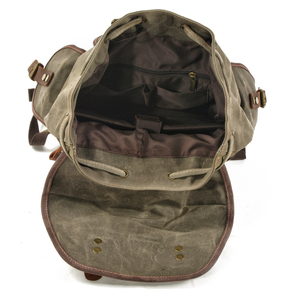green army canvas hiking backpack