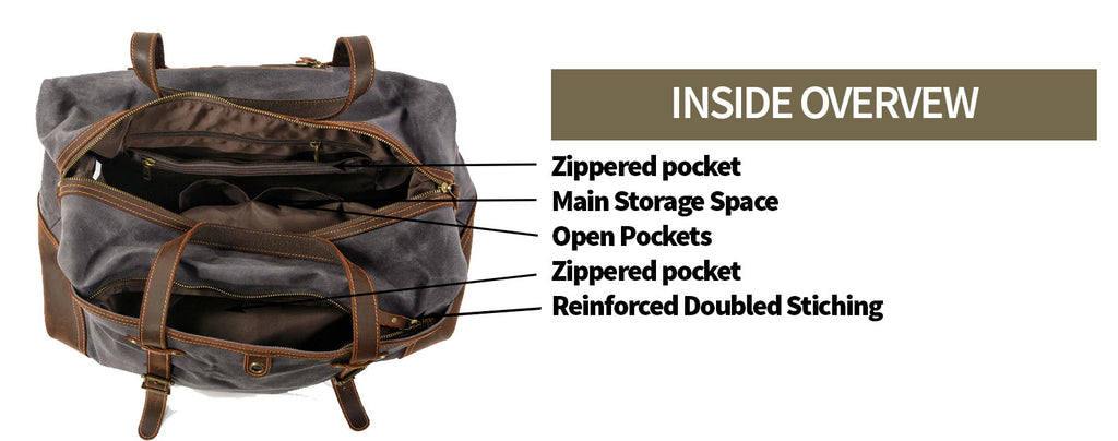 inside maika canvas weekender bag