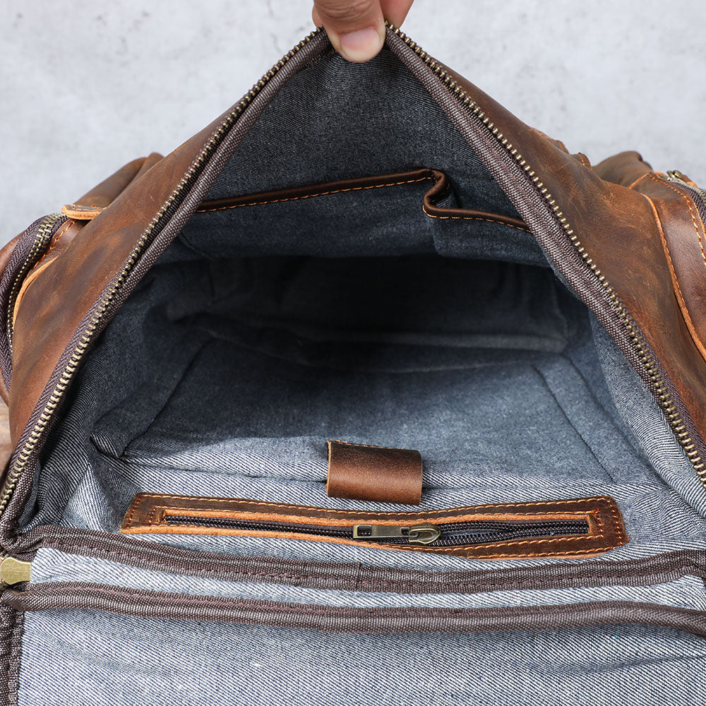 leather laptop bag inside compartments