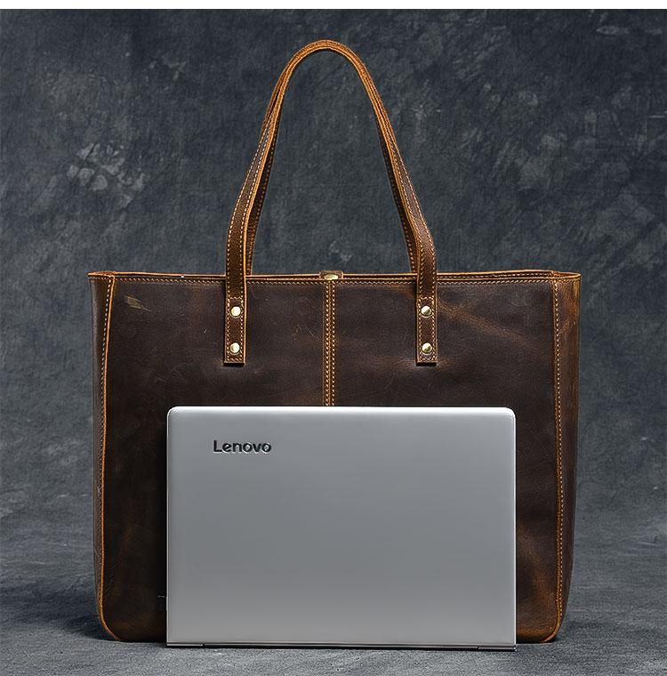 computer luxury leather tote bag for women