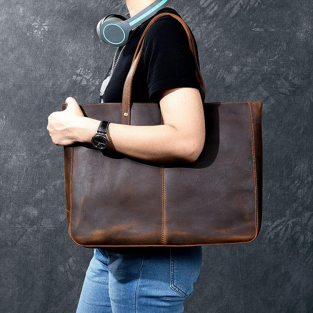 side view luxury leather tote bag for women