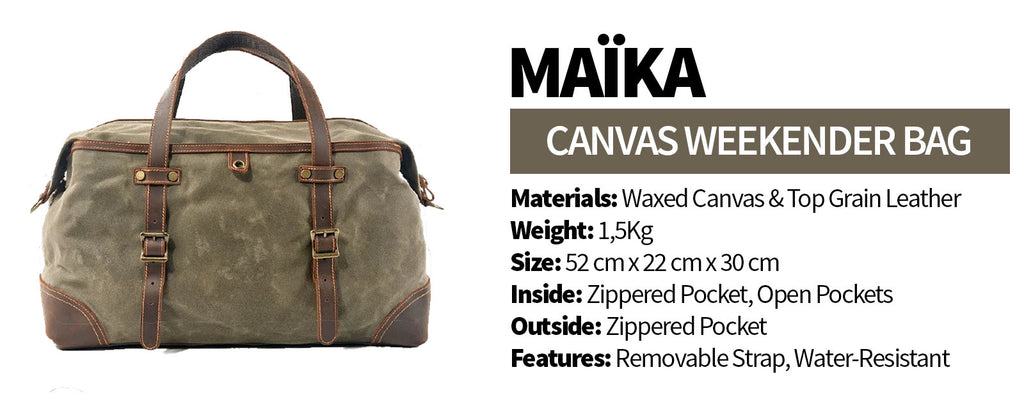 maika canvas weekender bag