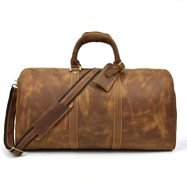 mens brown leather holdall bag