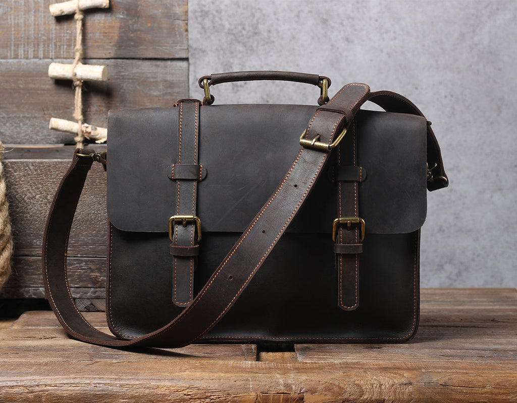 mens leather courier bag