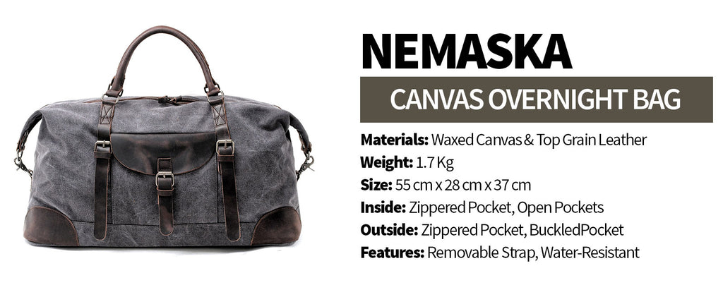 nemaska main canvas overnight bag