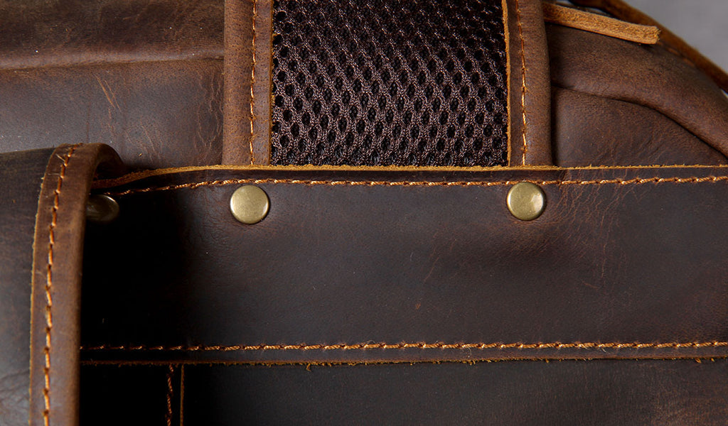 protective rivets leather backpack