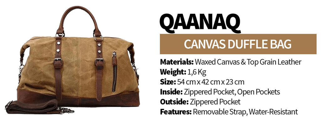 QAANAQ Waxed Canvas Duffle Bag