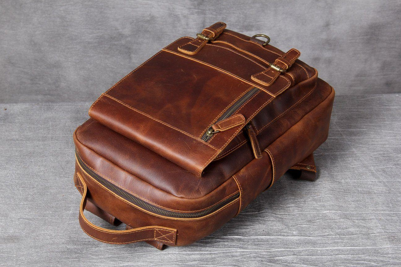 Tan Leather Backpack high quality
