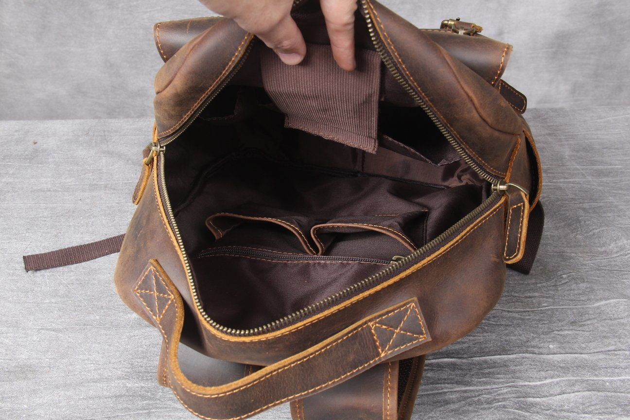 Tan Leather Backpack internal pockets