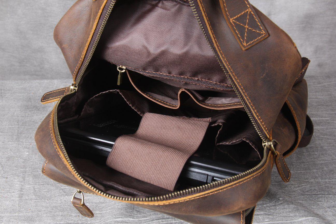 Tan Leather Backpack laptop compartment