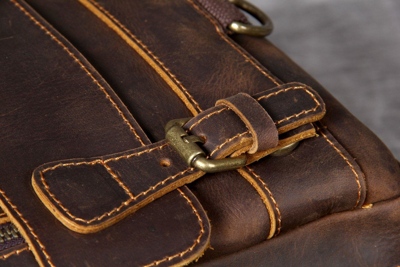 Tan Leather Backpack magnetic clip
