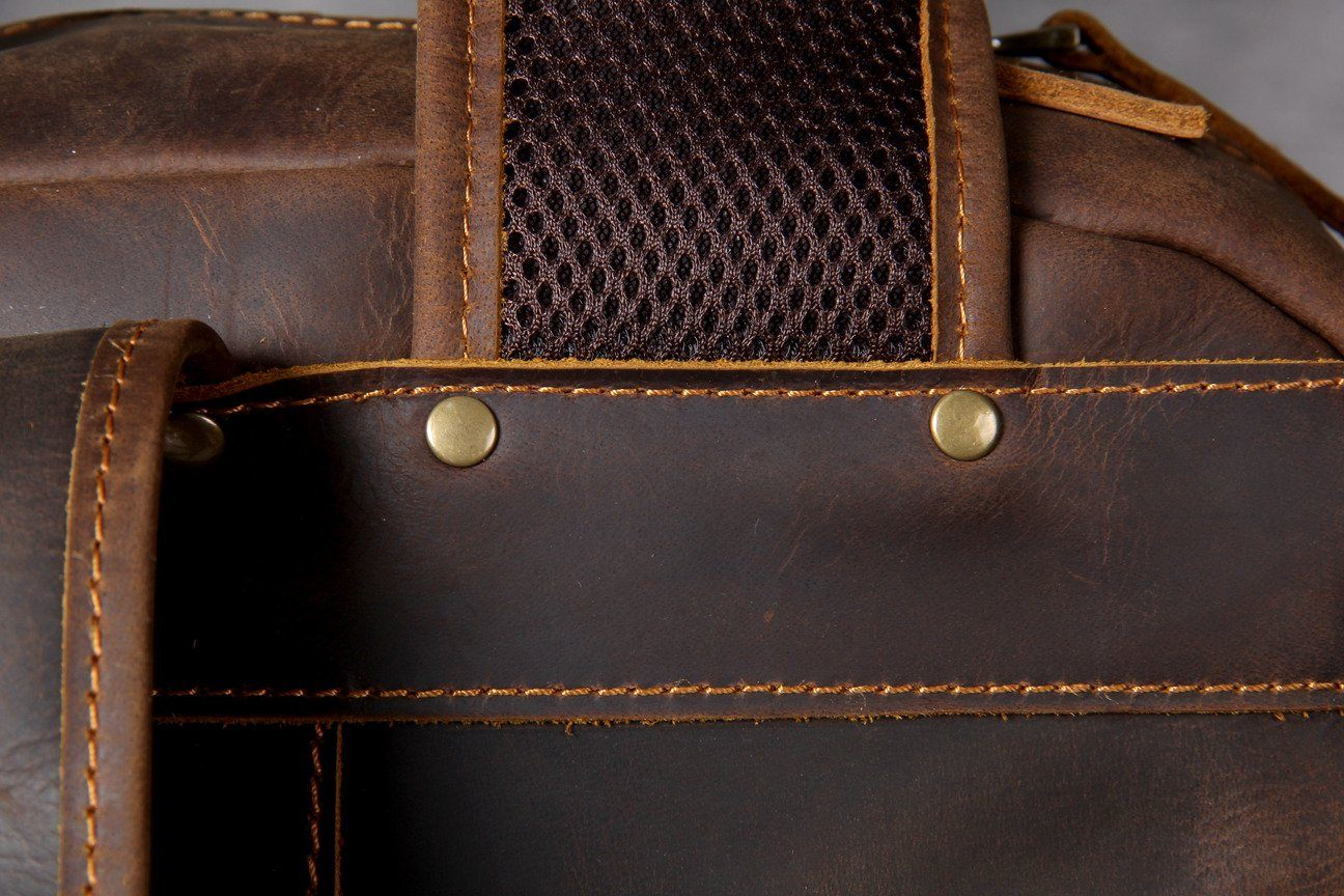 Tan Leather Backpack backpack protective rivets
