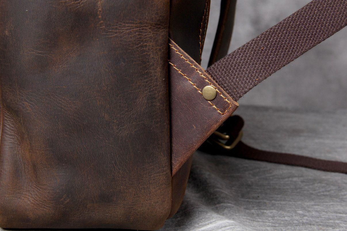 Tan Leather backpack with reinforced straps
