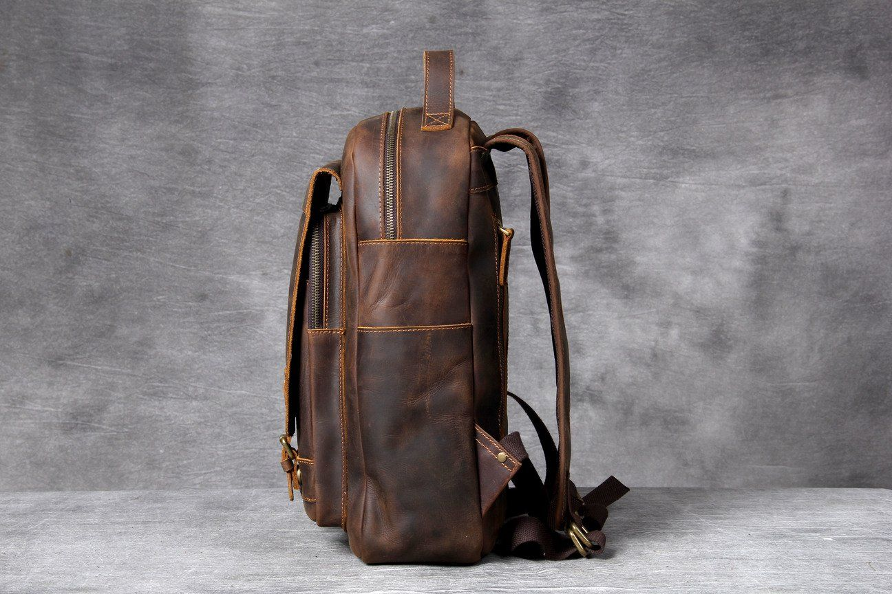 Tan Leather Backpack retro and vintage