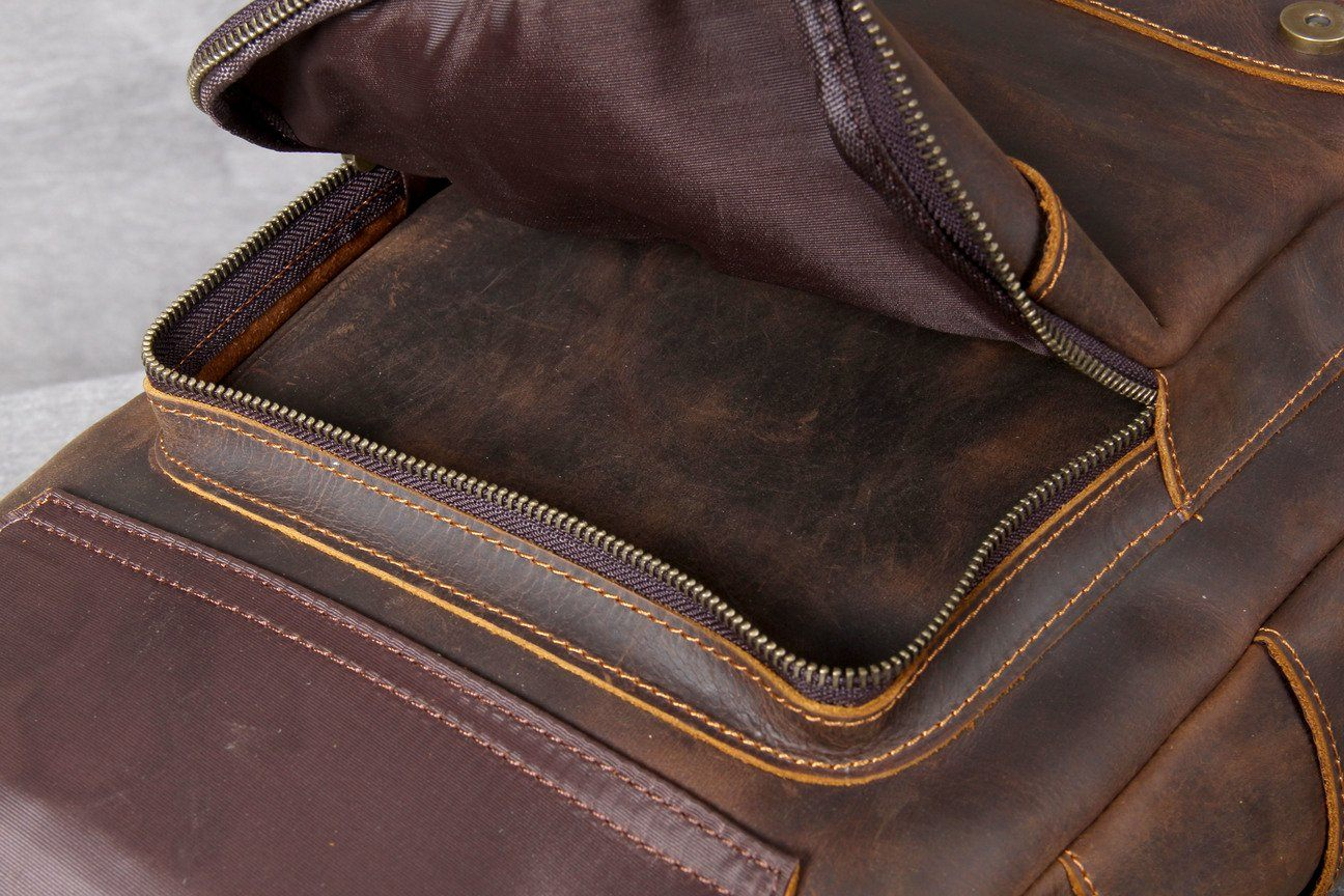 Tan Leather Backpack spacious pockets