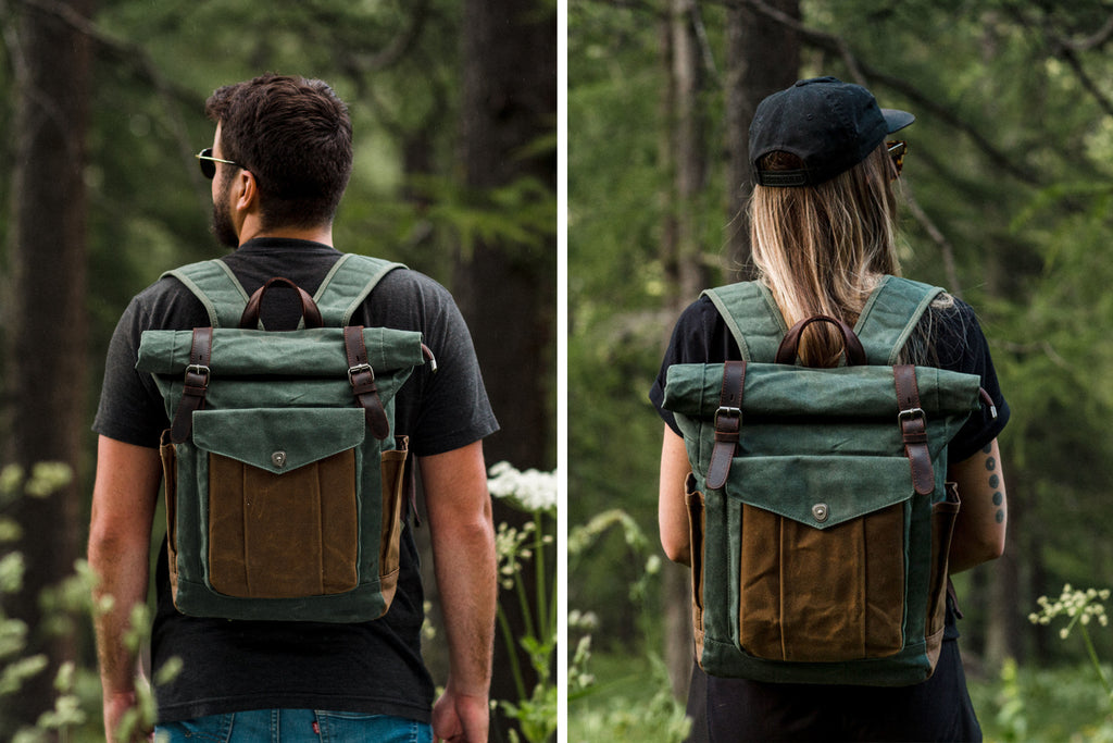 unisex roll top backpack